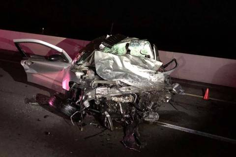 One of the vehicles involved in a wrong-way crash that left two people dead on Thursday, Dec. 5 ...
