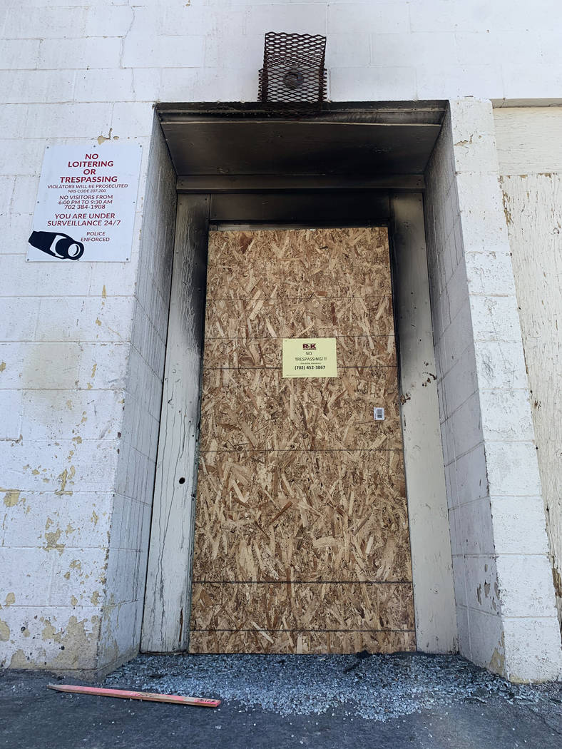 The rear door of the Alpine Motel Apartments pictured on Thursday, Jan. 9, 2020, in Las Vegas. ...
