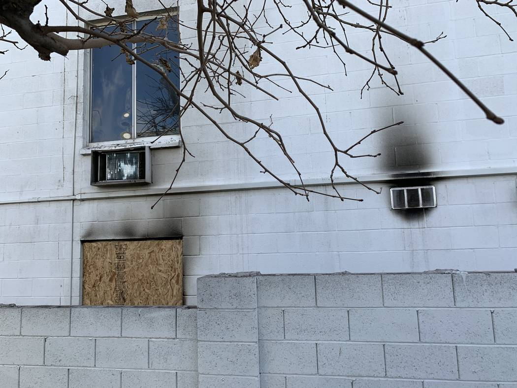 Smoke stains outside the Alpine Motel Apartments pictured on Thursday, Jan. 9, 2020, in Las Veg ...