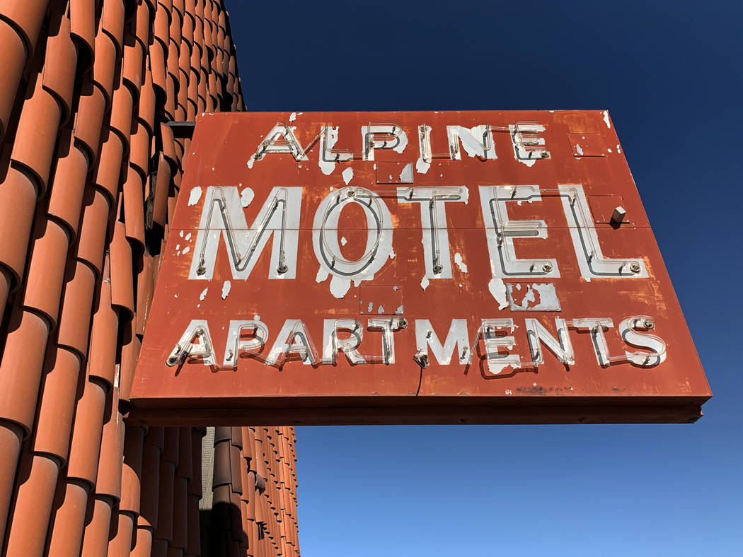 The sign outside the Alpine Motel Apartments pictured on Thursday, Jan. 9, 2020, in Las Vegas. ...