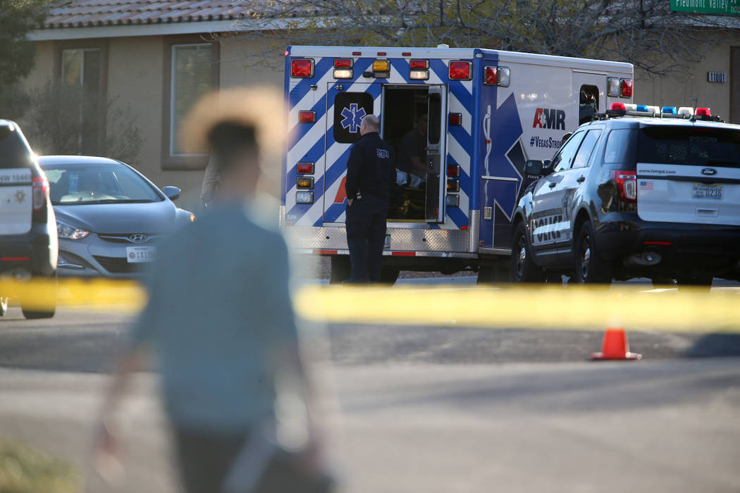 The scene of an investigation by Las Vegas police at the 11000 block of Piedmont Valley Avenue ...