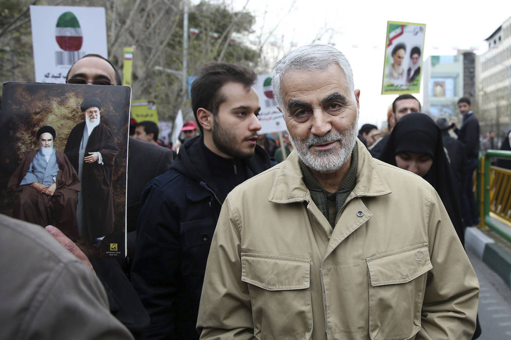Qassem Soleimani, commander of Iran's Quds Force, attends an annual rally commemorating the ann ...