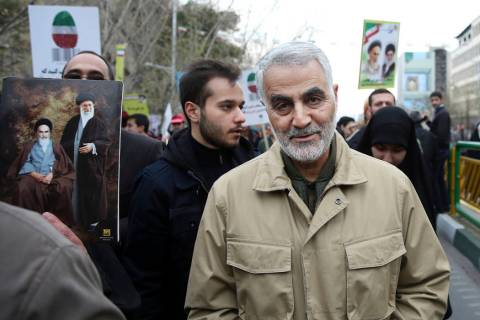 In this Thursday, Feb. 11, 2016, file photo, Qassem Soleimani, commander of Iran's Quds Force, ...