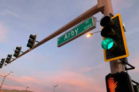 A traffic signal operates at Arby Avenue and Fort Apache Road on Friday, Jan. 3, 2020. (Twitter ...