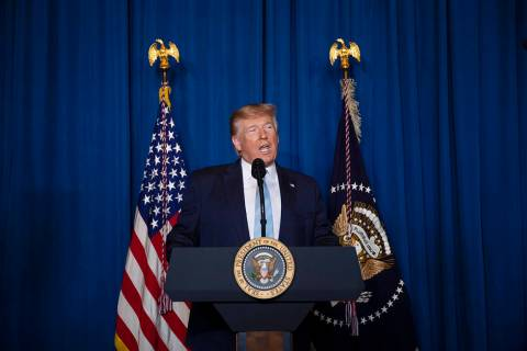 President Donald Trump delivers remarks on Iran, at his Mar-a-Lago property, Friday, Jan. 3, 20 ...