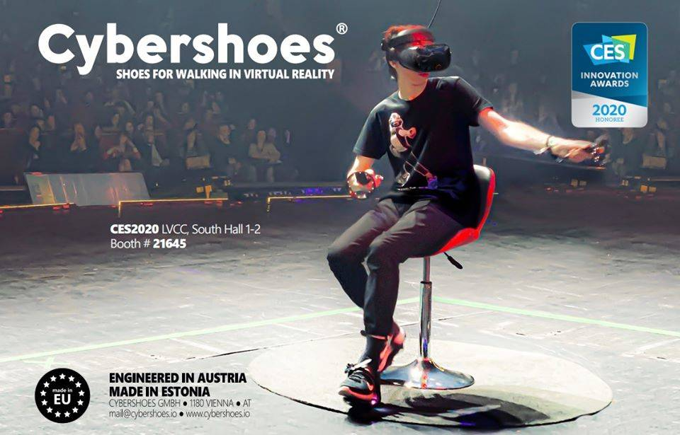 Cybershoes allow users to use their feet as controllers a virtual reality world. (Cybershoes)