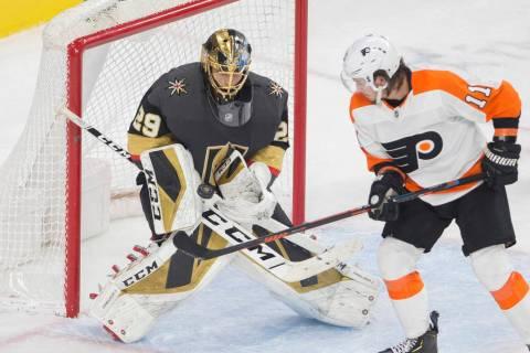 Vegas Golden Knights goaltender Marc-Andre Fleury (29) makes a save against Philadelphia Flyers ...