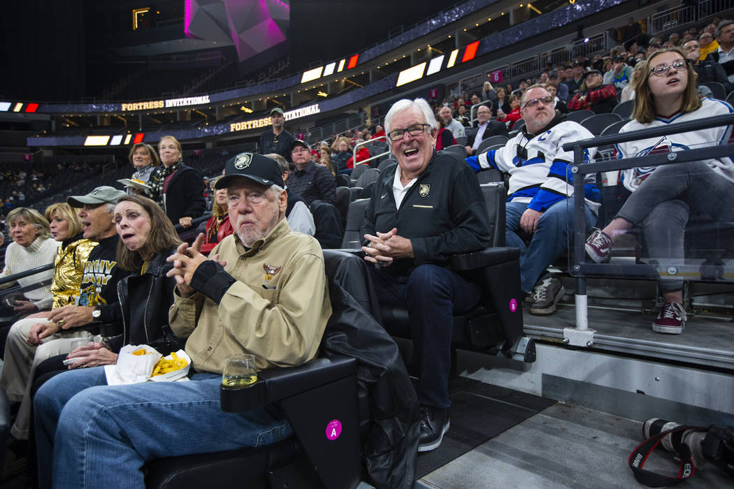 Golden Knights owner Bill Foley reacts while watching the action as Army plays Providence durin ...