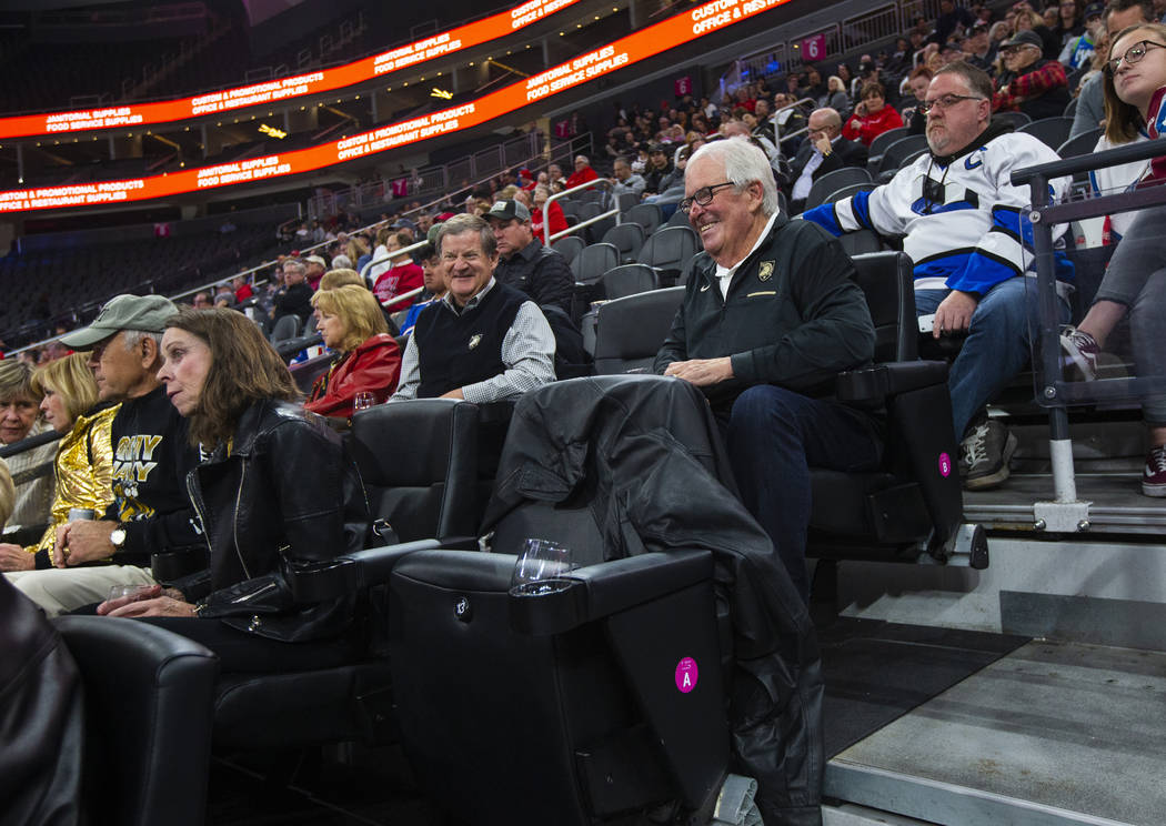 Golden Knights owner Bill Foley watches the action as Army plays Providence during a Fortress I ...