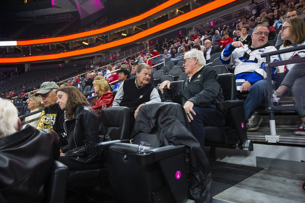 Golden Knights owner Bill Foley, center right, chats with a fellow Army supporter as the team p ...
