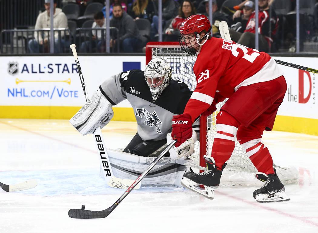 Cornell Big Red's Ben Berard (29) looks to shoot against Providence Friars goaltender Hayden Ha ...