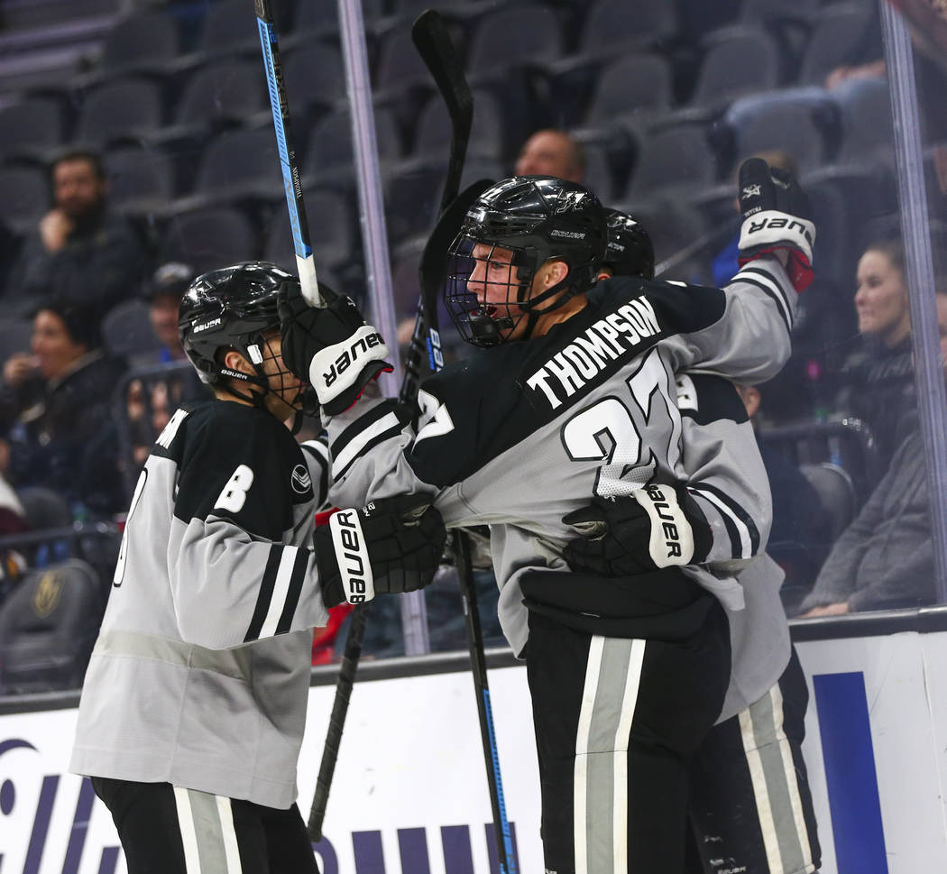 Providence Friars' Tyce Thompson (27) celebrates his goal against Cornell during the first peri ...