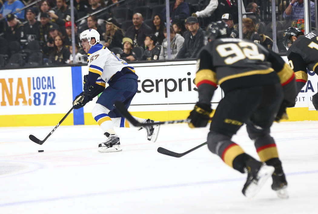 St. Louis Blues' David Perron (57) skates with the puck during the first period of an NHL hocke ...