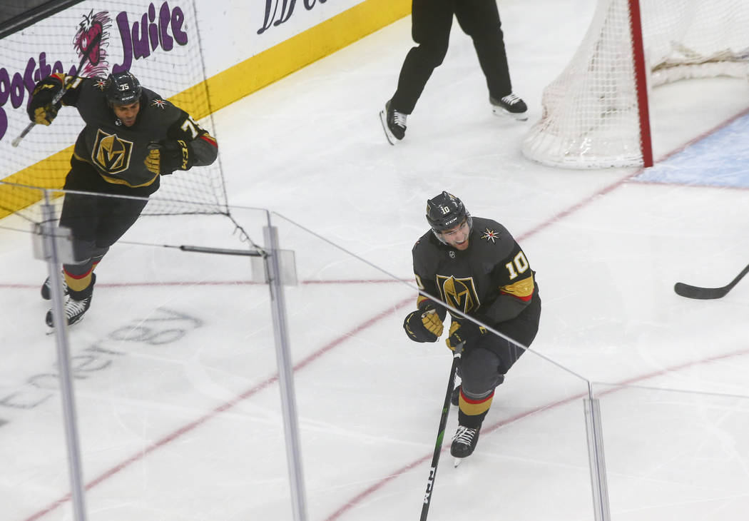 Golden Knights' Nicolas Roy (10) reacts after scoring against the St. Louis Blues during the th ...
