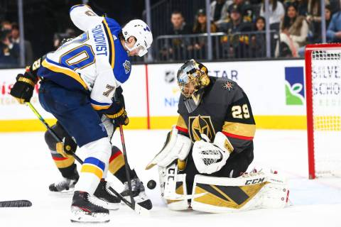 Golden Knights goaltender Marc-Andre Fleury (29) blocks the puck against St. Louis Blues' Oskar ...