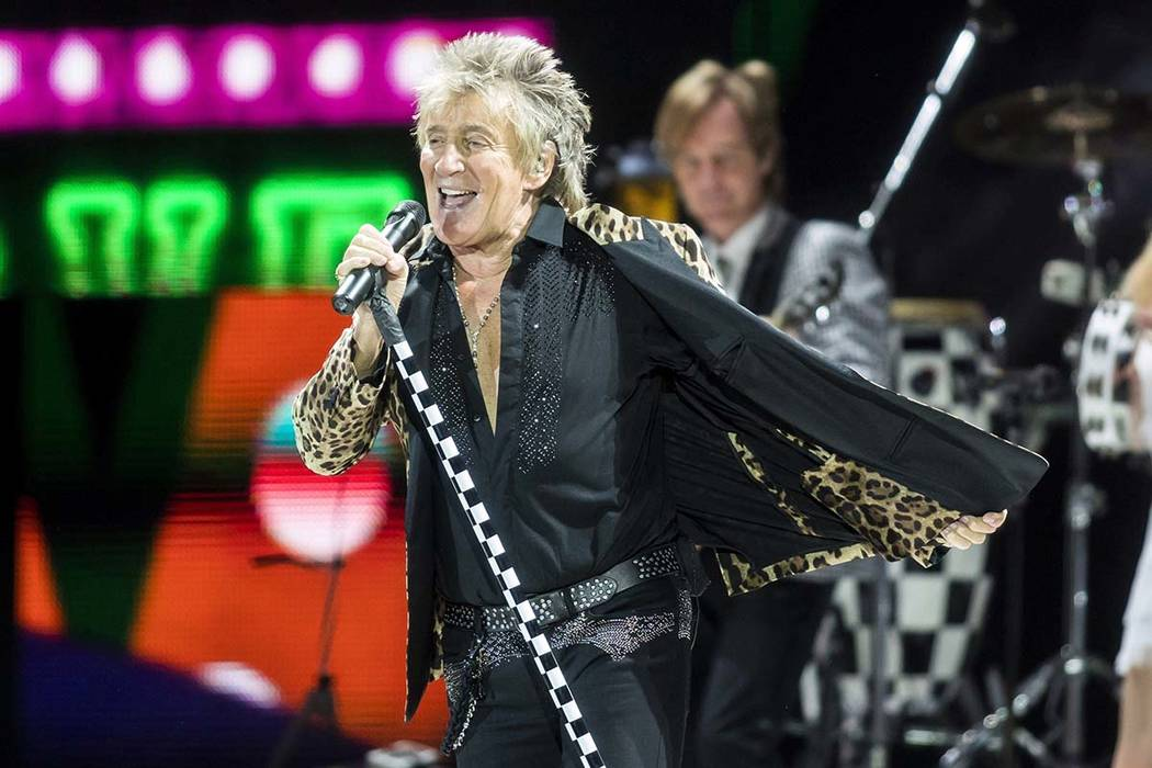 In this Jan. 29, 2018, file photo, British rock singer Rod Stewart performs during his concert ...