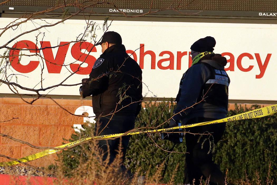 North Las Vegas police investigate a fatal shooting on Thursday, Jan. 2, 2020. (Bizuayehu Tesfa ...