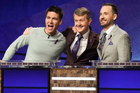 In this image released by ABC, contestants, from left, James Holzhauer, Ken Jennings and Brad R ...