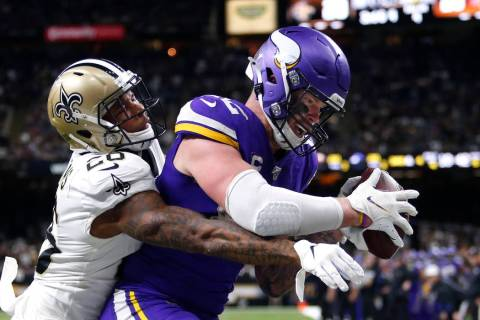Minnesota Vikings tight end Kyle Rudolph pulls in the game winning touchdown pass over New Orle ...