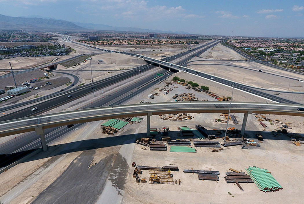 An aerial view of the Bruce Woodbury Beltway East transition overpass to the 95 South as seen o ...