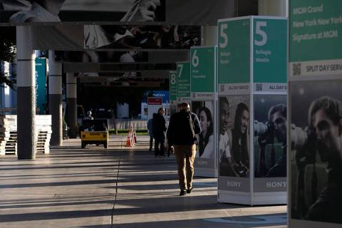Set up for CES continues at the Las Vegas Convention Center on Sunday, Jan. 5, 2020, in Las Veg ...
