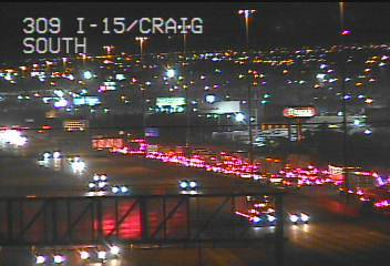 Traffic backs up on southbound Interstate 15 near Craig Road on Monday, Jan. 6, 2020 (FAST camera)