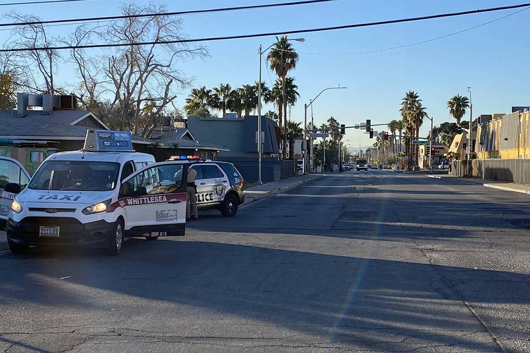 Las Vegas police investigate the shooting of a woman at an apartment complex at 3720 Royal Cres ...