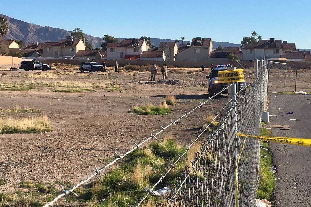 Las Vegas police homicide detectives investigate what is described as a suspicious death in nor ...