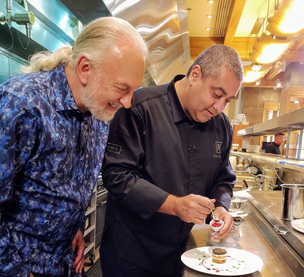 """Hubert Keller (left) in the kitchen with Michael Mina during the filming of """"Hubert Keller: Sec ..."""