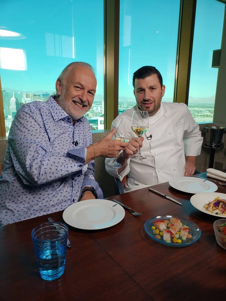 "Hubert Keller and Bruno Riou at Rivea, during the filming of ""Hubert Keller: Secrets of a Chef: ..."