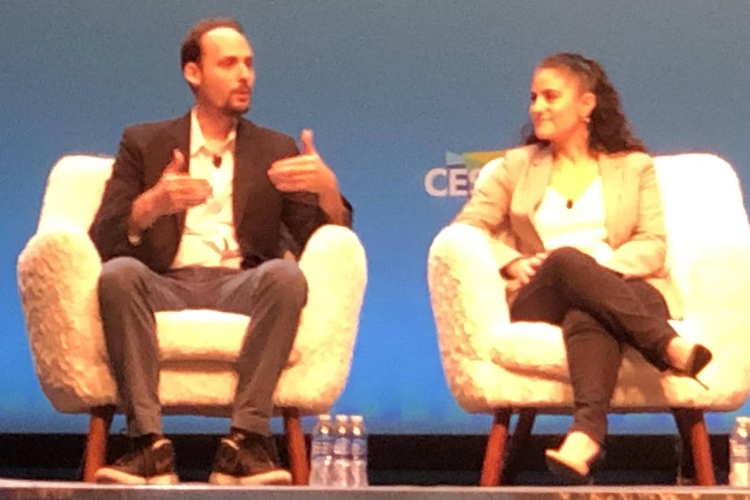 FitBiomics executives Jonathan Scheiman, left, and Carolina Barsa discuss the future of sports ...