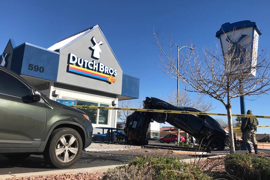 1 injured in crash outside Las Vegas coffee shop