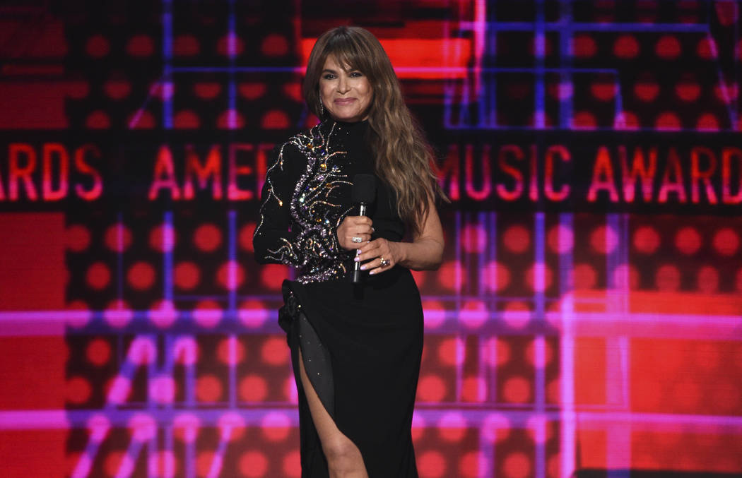 Paula Abdul introduces a performance by Toni Braxton at the American Music Awards on Sunday, No ...