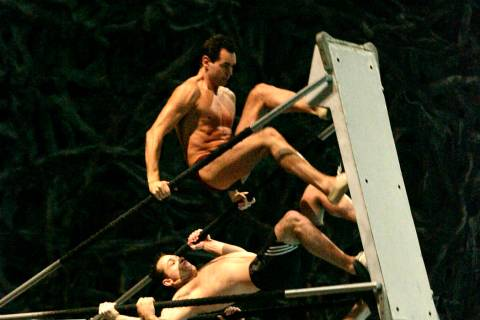 Cirque due Soleil performers work on the Russian Swing during a rehearsal for Cirque du Soleil' ...