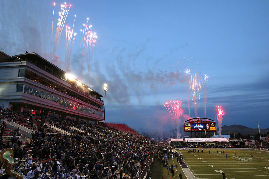 Pregame fireworks explode before the Las Vegas Bowl NCAA college football game between Boise St ...