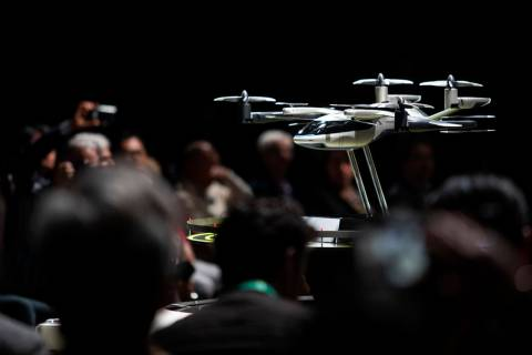 The model for Hyundai and Uber's new air taxi is displayed at the Hyundai Motor Company Media D ...
