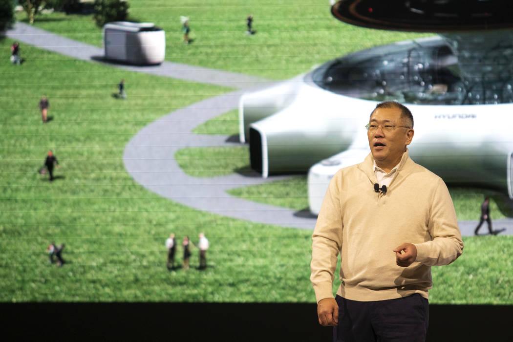 Euisun Chung, executive vice chairman at Hyundai, speaks at the Hyundai Motor Company Media Day ...