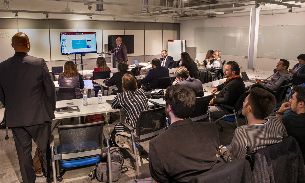 Members of the Turkish Trade Expo listen to a presentation by StartUP NV at the International I ...