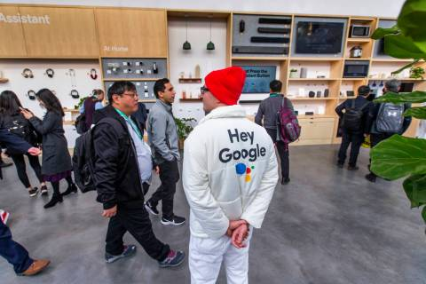 The Google display center on the central plaza is in full swing during CES Day 1 in Central Hal ...
