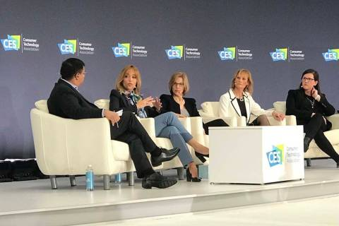 Panelists talk data privacy Tuesday during CES in Las Vegas. Pictured from left, Wing Venture C ...
