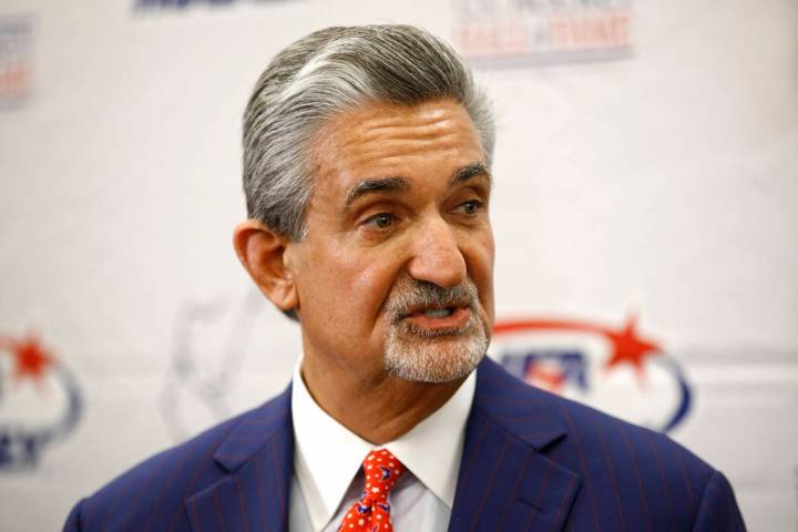 Washington Capitals team owner Ted Leonsis speaks with members of the press before accepting th ...