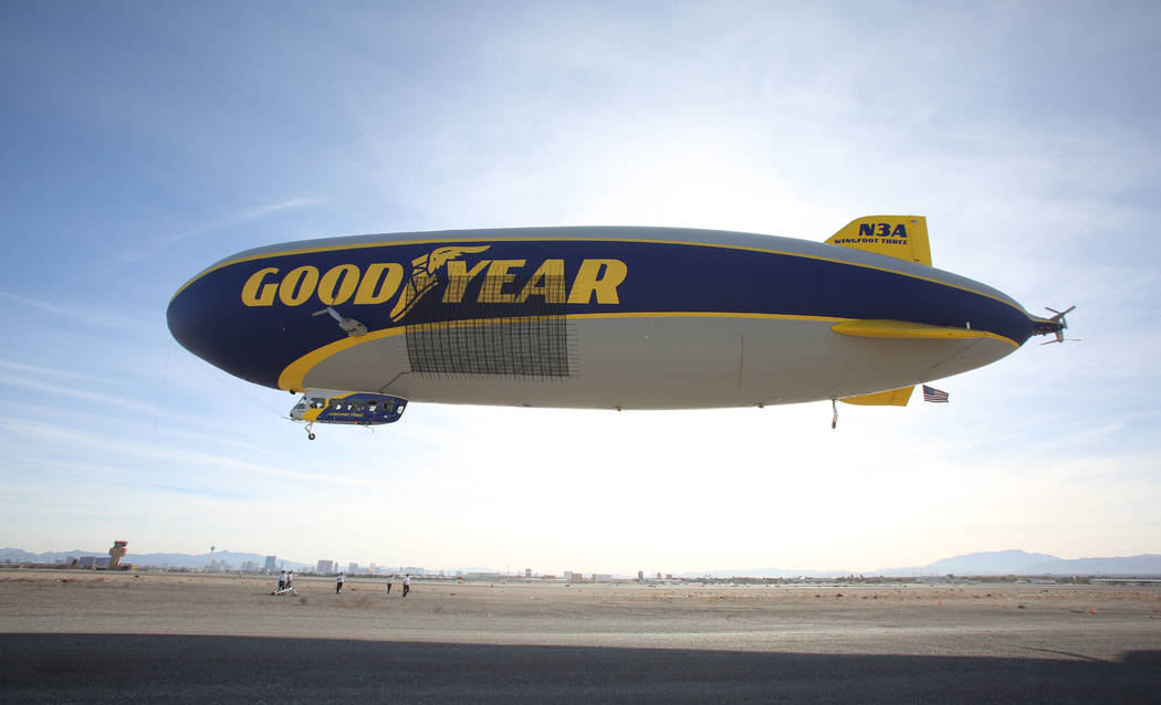 The Goodyear blimp lifts off from North Las Vegas Airport on Tuesday, January 7, 2020. (Michael ...