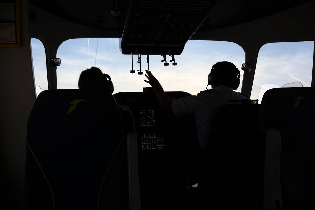William Bayliss, right, Chief Pilot of Goodyear Blimp Wingfoot Three and Assistant Chief Pilot, ...