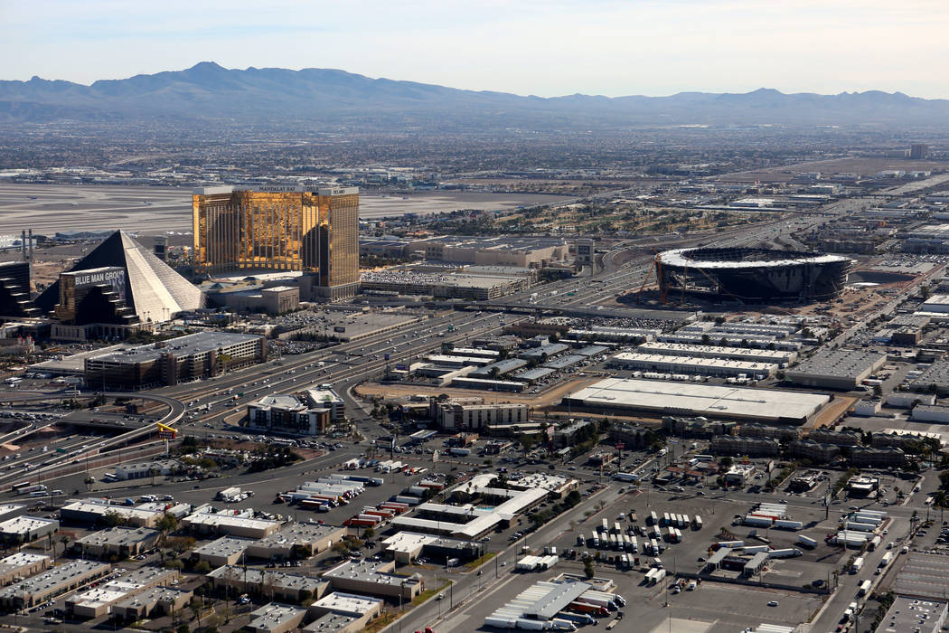 An aerial view of Allegiant Stadium from the Goodyear blimp on Tuesday, January 7, 2020. (Micha ...