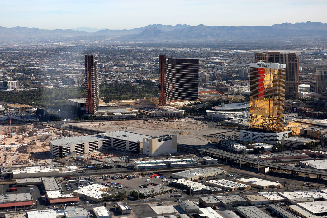 An aerial view of the Encore, Wynn and Trump towers on the Las Vegas Strip as seen from the Goo ...