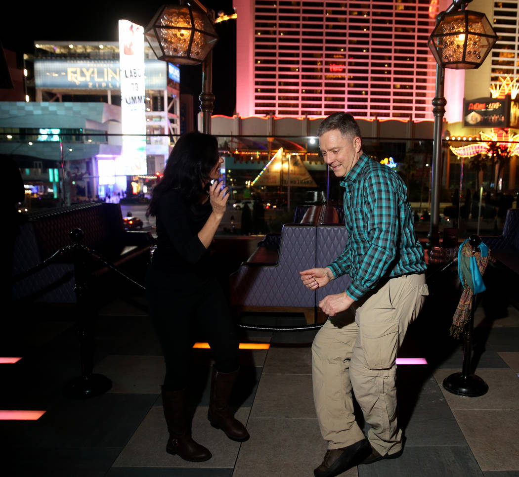 Conventioneers who declined to give their names during the CES 2020 official opening party at O ...