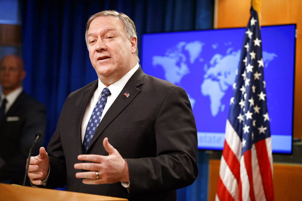 Secretary of State Mike Pompeo speaks about Iran, Tuesday Jan. 7, 2020, at the State Department ...