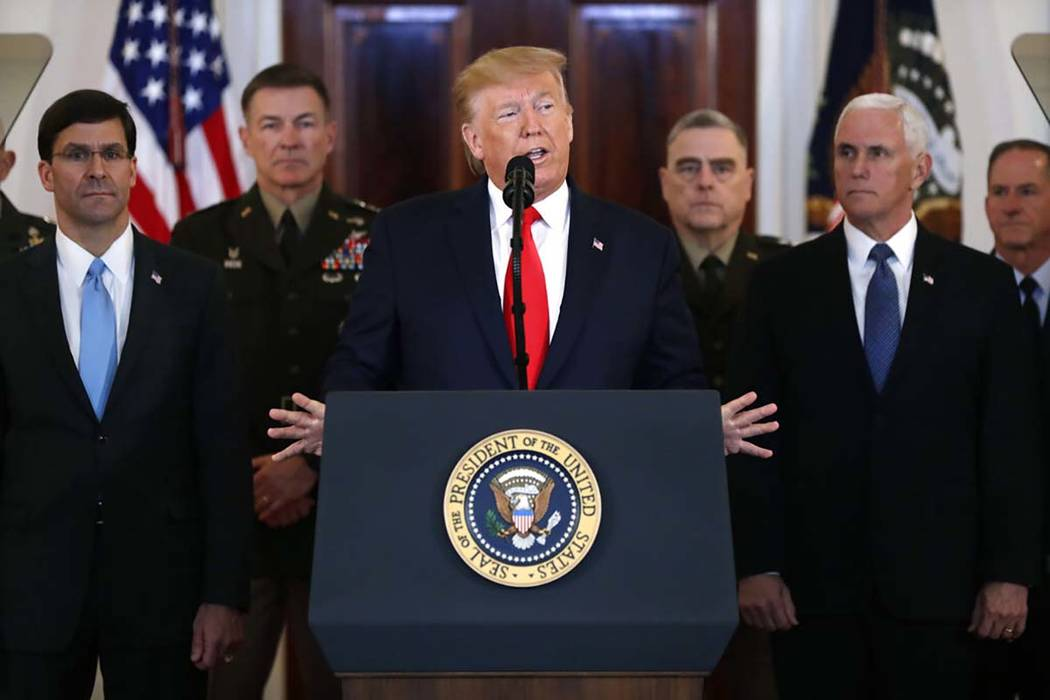 President Donald Trump addresses the nation from the White House on the ballistic missile strik ...