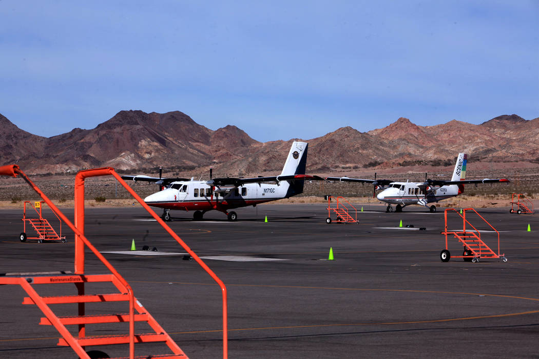 Grand Canyon Airlines planes sit on the tarmac at Boulder City Airport in February 2011. (Las V ...