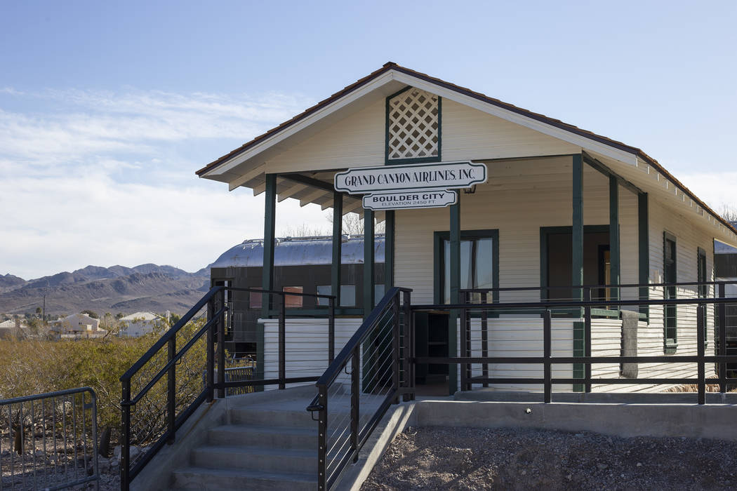 The Grand Canyon Airlines ticket office, which was moved to the grounds of the Clark County Mus ...